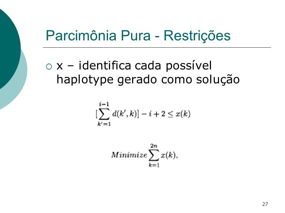 27 Parcimônia Pura - Restrições  x – identifica cada possível haplotype gerado como solução