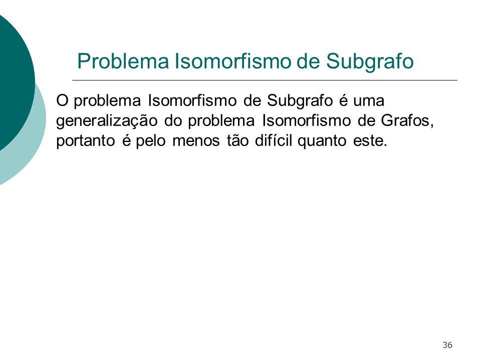 36 Problema Isomorfismo de Subgrafo O problema Isomorfismo de Subgrafo é uma generalização do problema Isomorfismo de Grafos, portanto é pelo menos tão difícil quanto este.