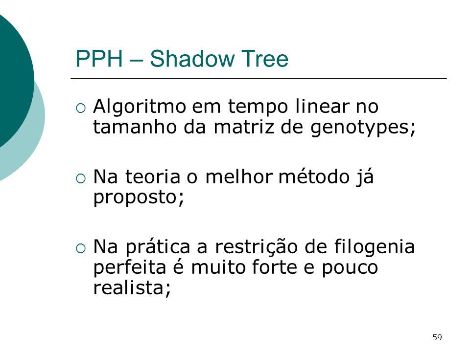 59 PPH – Shadow Tree  Algoritmo em tempo linear no tamanho da matriz de genotypes;  Na teoria o melhor método já proposto;  Na prática a restrição de filogenia perfeita é muito forte e pouco realista;