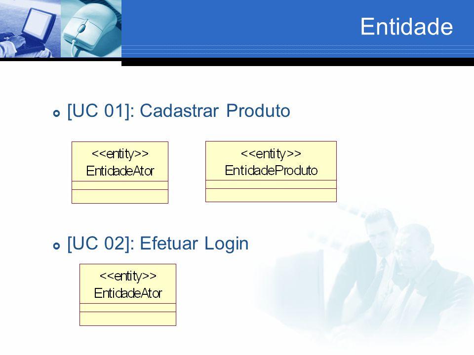 Entidade  [UC 01]: Cadastrar Produto  [UC 02]: Efetuar Login