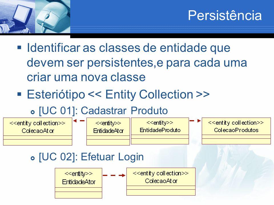 Persistência  Identificar as classes de entidade que devem ser persistentes,e para cada uma criar uma nova classe  Esteriótipo >  [UC 01]: Cadastrar Produto  [UC 02]: Efetuar Login