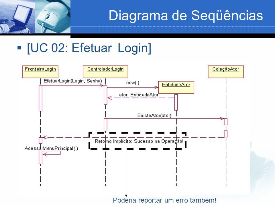Diagrama de Seqüências  [UC 02: Efetuar Login] Poderia reportar um erro também!