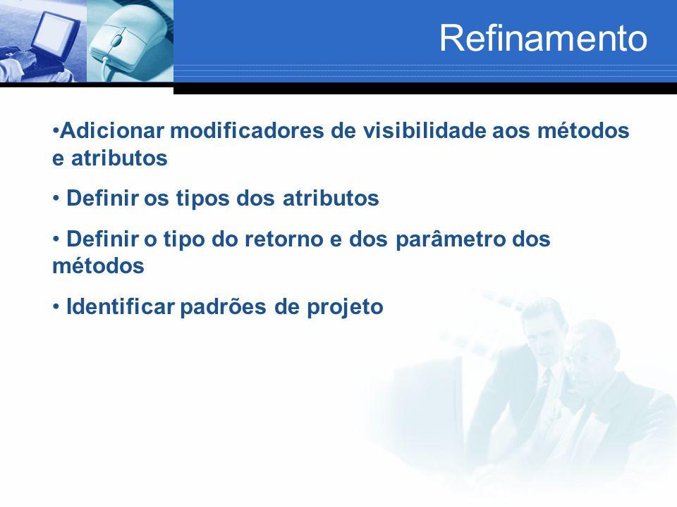 Adicionar modificadores de visibilidade aos métodos e atributos Definir os tipos dos atributos Definir o tipo do retorno e dos parâmetro dos métodos Identificar padrões de projeto Refinamento