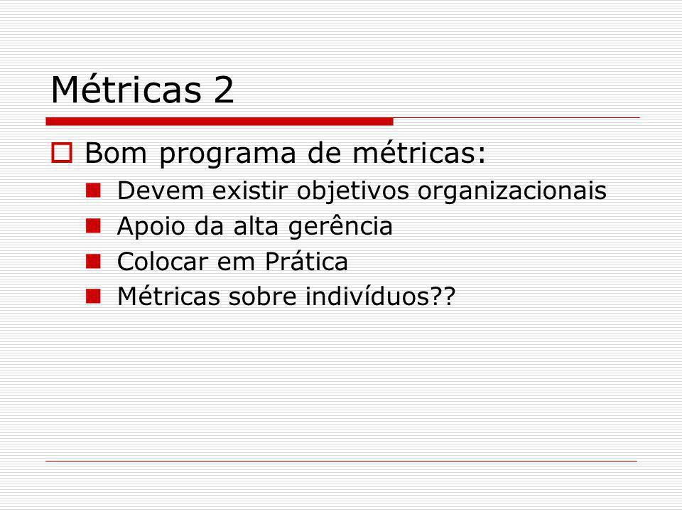 Métricas 2  Bom programa de métricas: Devem existir objetivos organizacionais Apoio da alta gerência Colocar em Prática Métricas sobre indivíduos??