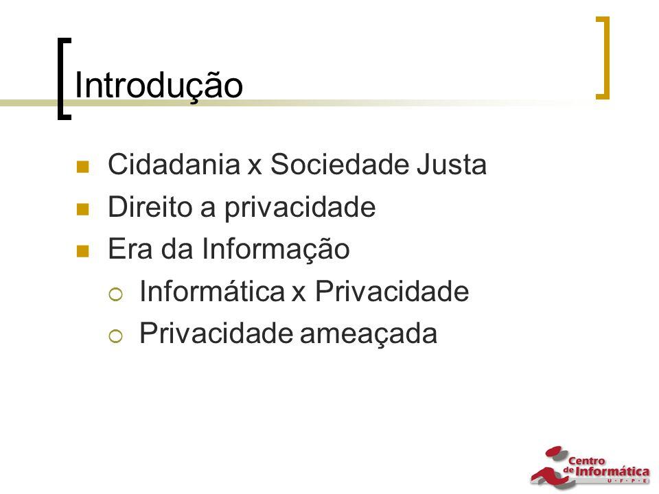 Introdução Cidadania x Sociedade Justa Direito a privacidade Era da Informação  Informática x Privacidade  Privacidade ameaçada