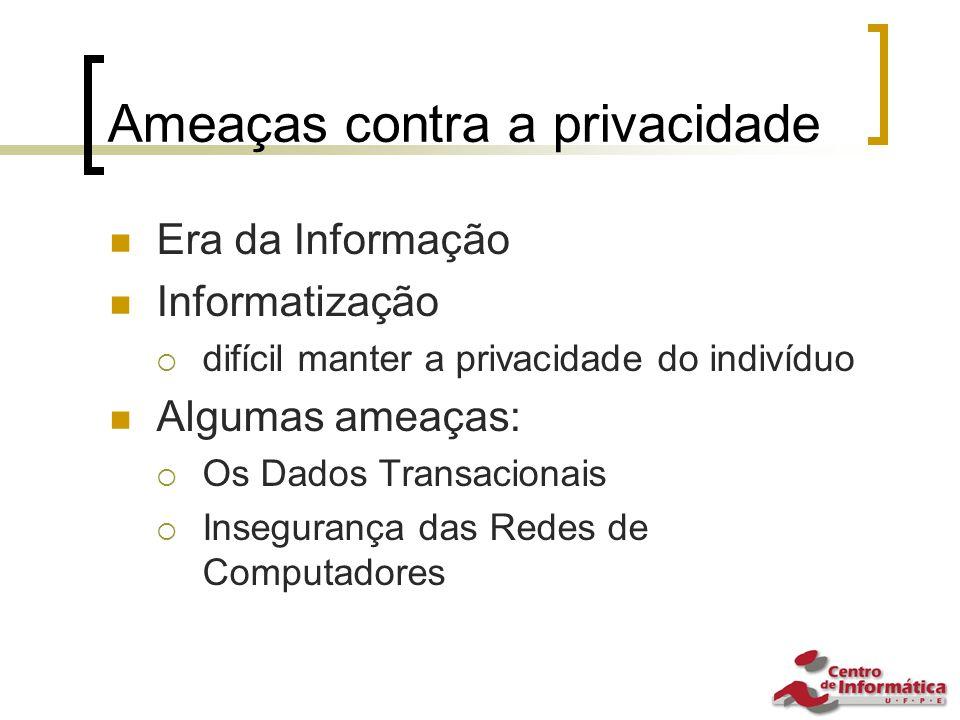 Ameaças contra a privacidade Era da Informação Informatização  difícil manter a privacidade do indivíduo Algumas ameaças:  Os Dados Transacionais  Insegurança das Redes de Computadores