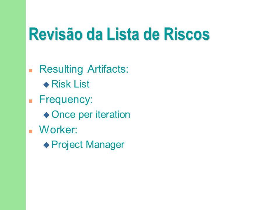 Revisão da Lista de Riscos n Resulting Artifacts: u Risk List n Frequency: u Once per iteration n Worker: u Project Manager