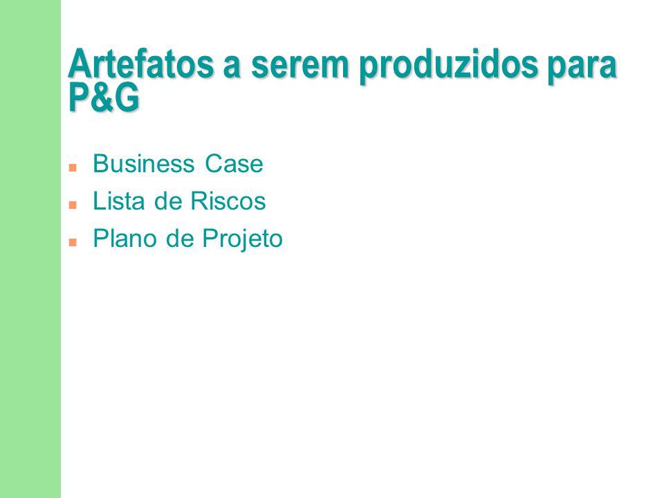 Artefatos a serem produzidos para P&G n Business Case n Lista de Riscos n Plano de Projeto