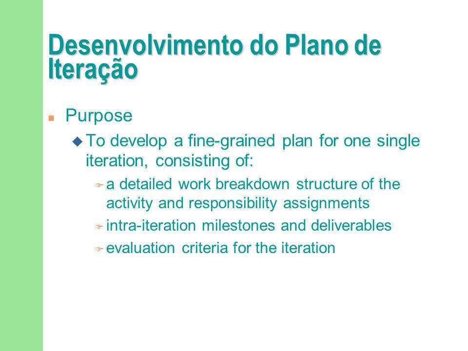 Desenvolvimento do Plano de Iteração n Purpose u To develop a fine-grained plan for one single iteration, consisting of: F a detailed work breakdown s