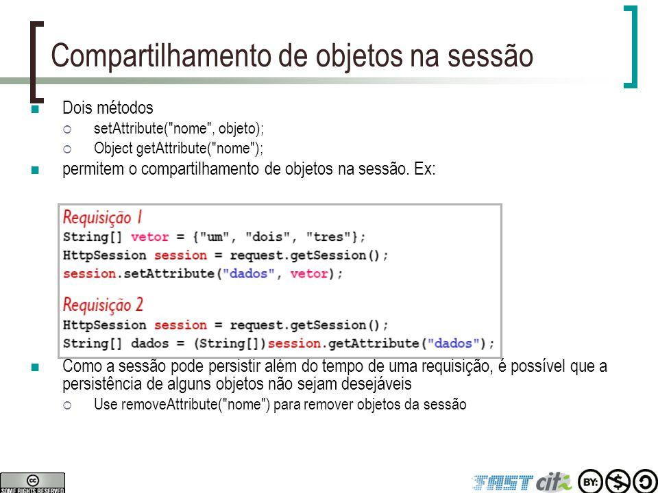 Compartilhamento de objetos na sessão Dois métodos  setAttribute(