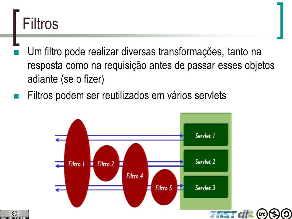 Escopo de objetos em servlets Servlets podem compartilhar informações de várias maneiras  Usando meios persistentes (bancos de dados, arquivos, etc)  Usando objetos na memória por escopo (requisição, sessão, contexto)  Usando variáveis estáticas ou de instância Servlets oferecem três níveis diferentes de persistência na memória (ordem decrescente de duração)  Contexto da aplicação: vale enquanto aplicação estiver na memória (javax.servlet.ServletContext)  Sessão: dura uma sessão do cliente (javax.servlet.http.HttpSession)  Requisição: dura uma requisição (javax.servlet.ServletRequest) Para gravar dados em um objeto de persistência na memória objeto.setAttribute( nome , dados); Para recuperar ou remover os dados Object dados = objeto.getAttribute( nome ); objeto.removeAttribute( nome );