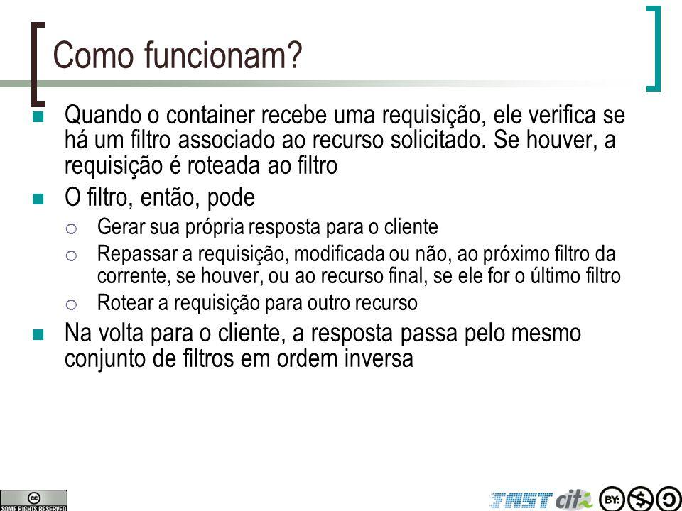API: Interfaces Filter, FilterConfig, FilterChain javax.servlet.Filter  void init(FilterConfig),  void doFilter(ServletRequest, ServletResponse, FilterChain)  void destroy() javax.servlet.FilterConfig  String getFilterName()  String getInitParameter(String name)  Enumeration getInitParameterNames()  ServletContext getServletContext() javax.servlet.FilterChain  void doFilter(ServletRequest, ServletResponse)