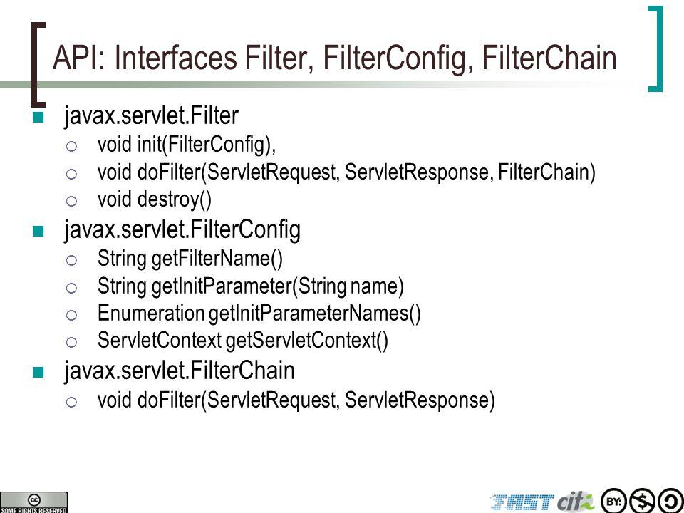 API: Interfaces Filter, FilterConfig, FilterChain javax.servlet.Filter  void init(FilterConfig),  void doFilter(ServletRequest, ServletResponse, Fil
