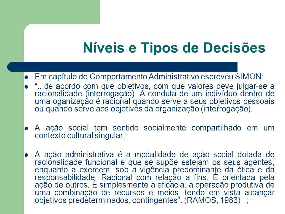 Níveis e Tipos de Decisões Racionalidade é a maneira de agir consciente para fins específicos.