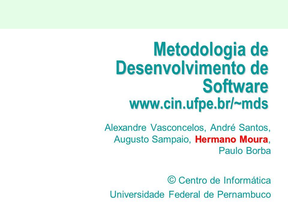 Metodologia de Desenvolvimento de Software www.cin.ufpe.br/~mds Hermano Moura Alexandre Vasconcelos, André Santos, Augusto Sampaio, Hermano Moura, Pau