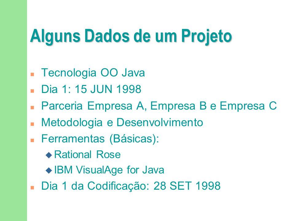 Alguns Dados de um Projeto n Tecnologia OO Java n Dia 1: 15 JUN 1998 n Parceria Empresa A, Empresa B e Empresa C n Metodologia e Desenvolvimento n Fer