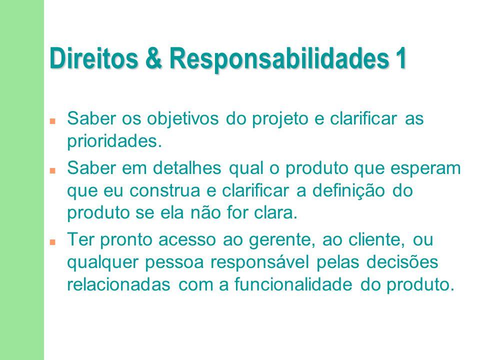 Direitos & Responsabilidades 1 n Saber os objetivos do projeto e clarificar as prioridades. n Saber em detalhes qual o produto que esperam que eu cons