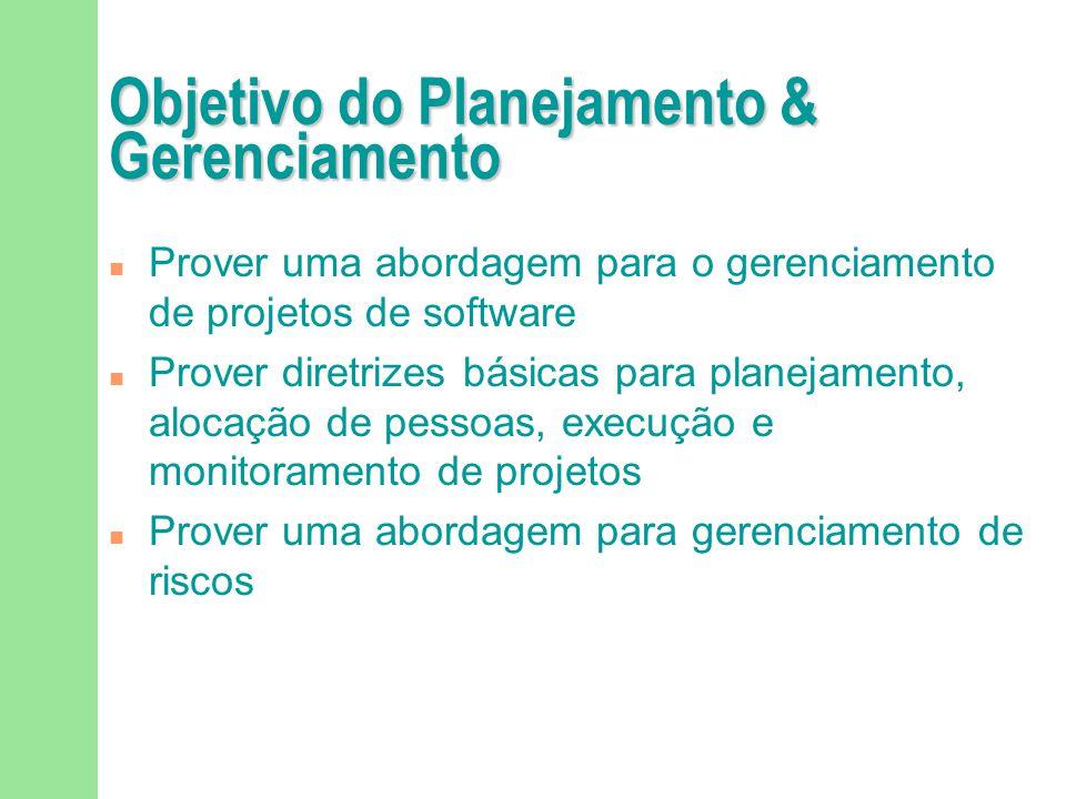 Objetivo do Planejamento & Gerenciamento n Prover uma abordagem para o gerenciamento de projetos de software n Prover diretrizes básicas para planejam