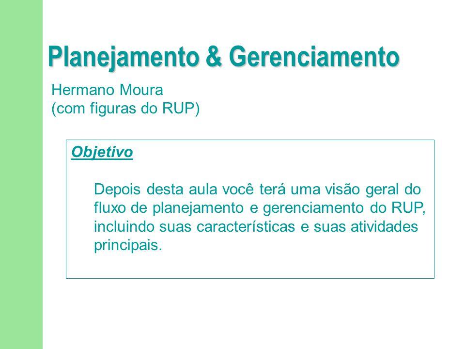 Planejamento & Gerenciamento Hermano Moura (com figuras do RUP) Objetivo Depois desta aula você terá uma visão geral do fluxo de planejamento e gerenc