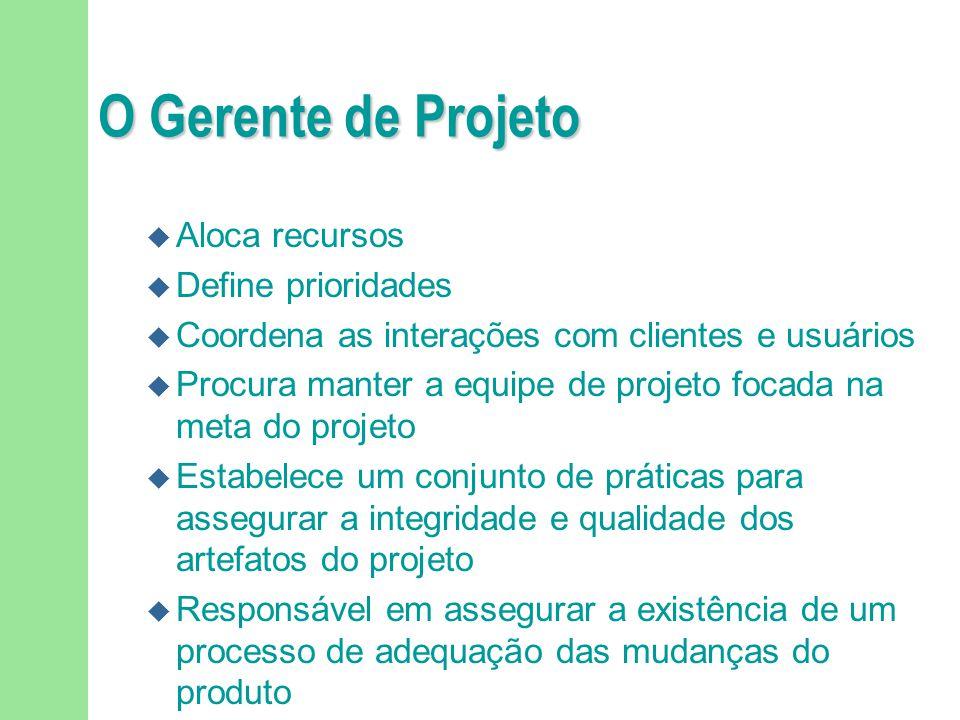 O Gerente de Projeto u Aloca recursos u Define prioridades u Coordena as interações com clientes e usuários u Procura manter a equipe de projeto focad