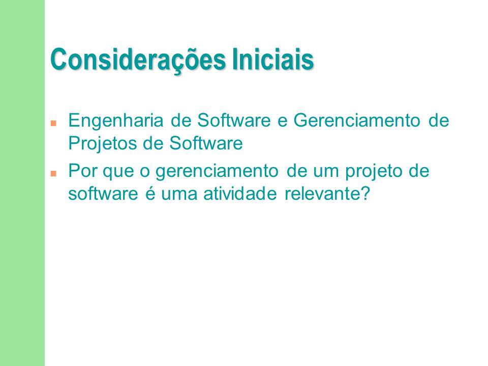 Considerações Iniciais n Engenharia de Software e Gerenciamento de Projetos de Software n Por que o gerenciamento de um projeto de software é uma ativ