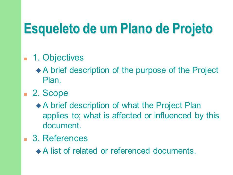 Esqueleto de um Plano de Projeto n 1. Objectives u A brief description of the purpose of the Project Plan. n 2. Scope u A brief description of what th