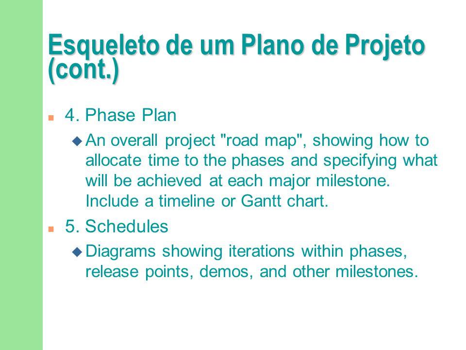 Esqueleto de um Plano de Projeto (cont.) n 4. Phase Plan u An overall project