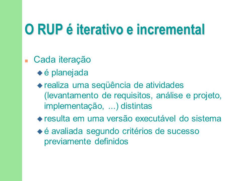 O RUP é iterativo e incremental n Cada iteração u é planejada u realiza uma seqüência de atividades (levantamento de requisitos, análise e projeto, im