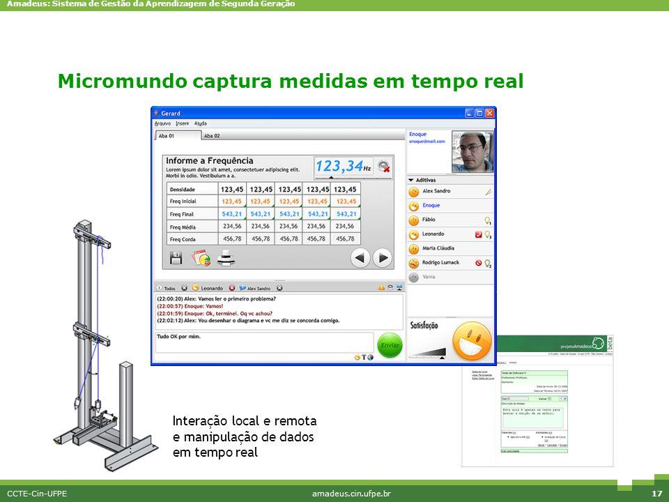 Amadeus: Sistema de Gestão da Aprendizagem de Segunda Geração CCTE-Cin-UFPEamadeus.cin.ufpe.br17 Interação local e remota e manipulação de dados em te