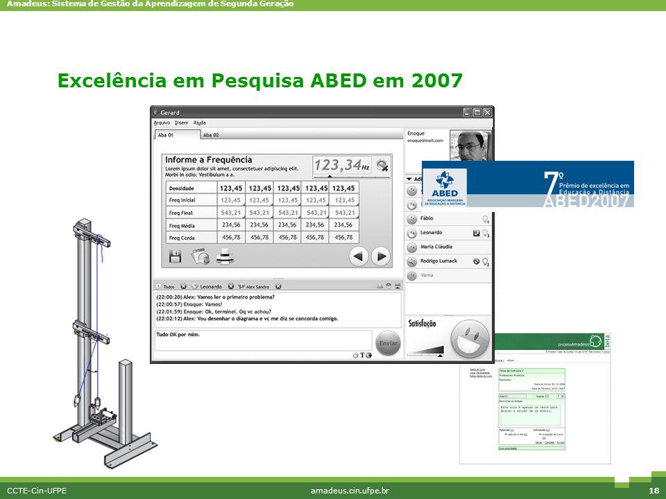 Amadeus: Sistema de Gestão da Aprendizagem de Segunda Geração CCTE-Cin-UFPEamadeus.cin.ufpe.br18 EriMont Excelência em Pesquisa ABED em 2007