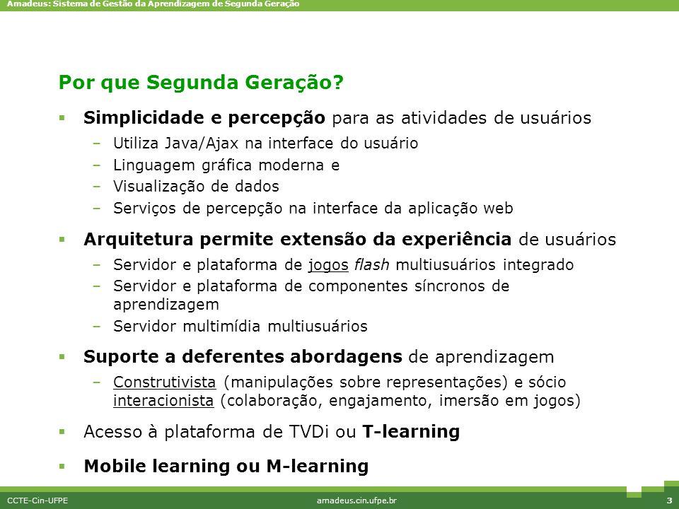 Amadeus: Sistema de Gestão da Aprendizagem de Segunda Geração CCTE-Cin-UFPEamadeus.cin.ufpe.br3 Por que Segunda Geração?  Simplicidade e percepção pa