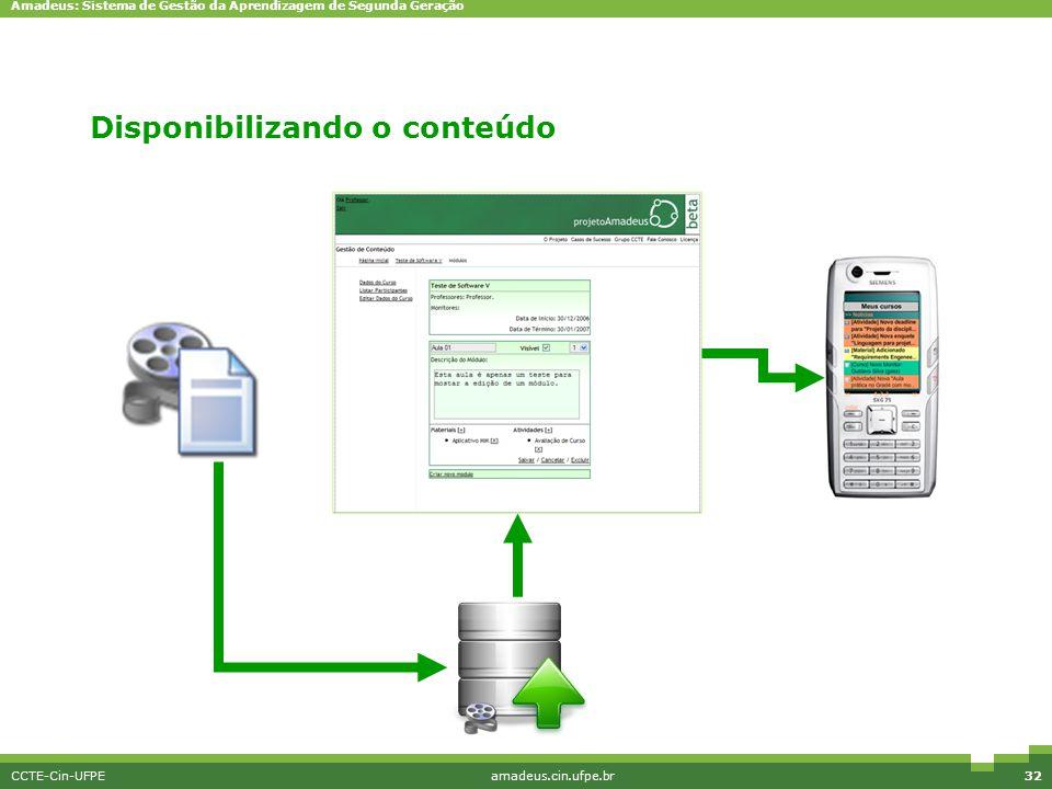 Amadeus: Sistema de Gestão da Aprendizagem de Segunda Geração CCTE-Cin-UFPEamadeus.cin.ufpe.br32 Disponibilizando o conteúdo