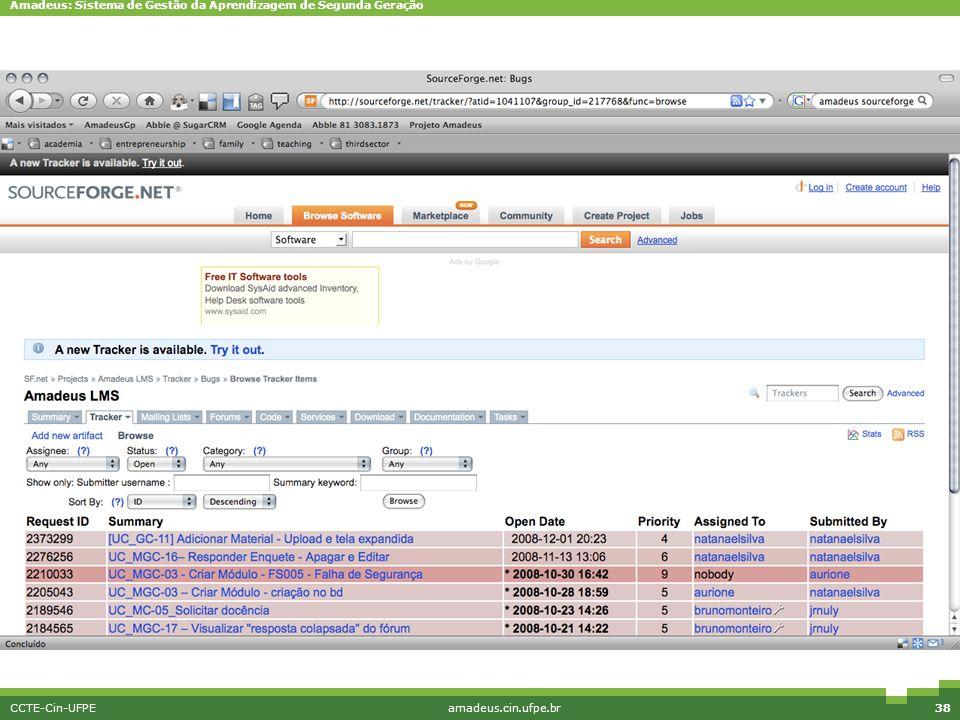 Amadeus: Sistema de Gestão da Aprendizagem de Segunda Geração CCTE-Cin-UFPEamadeus.cin.ufpe.br38