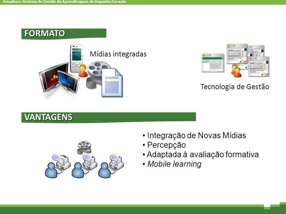Amadeus: Sistema de Gestão da Aprendizagem de Segunda Geração Mídias integradas FORMATO VANTAGENS Integração de Novas Mídias Percepção Adaptada à aval