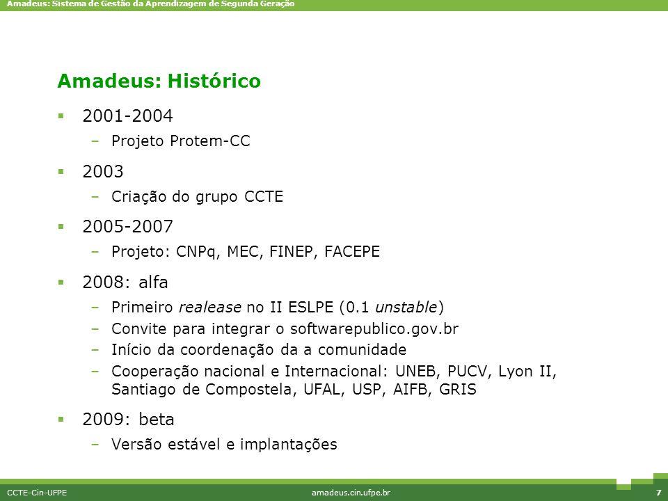 Amadeus: Sistema de Gestão da Aprendizagem de Segunda Geração CCTE-Cin-UFPEamadeus.cin.ufpe.br7 Amadeus: Histórico  2001-2004 –Projeto Protem-CC  20