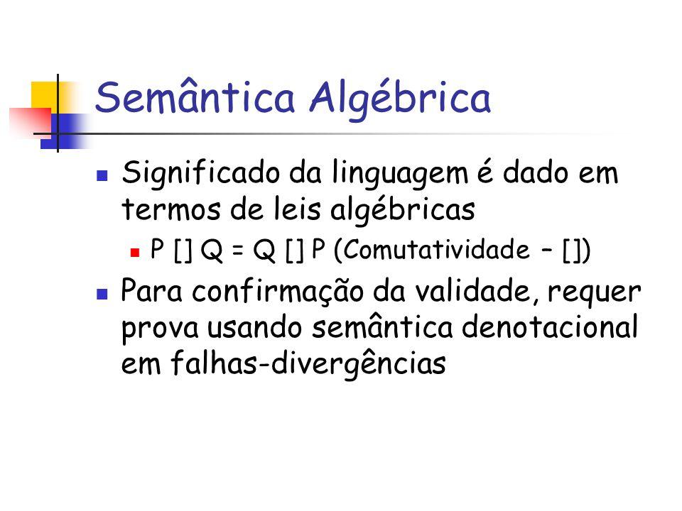 Semântica Algébrica Significado da linguagem é dado em termos de leis algébricas P [] Q = Q [] P (Comutatividade – []) Para confirmação da validade, requer prova usando semântica denotacional em falhas-divergências