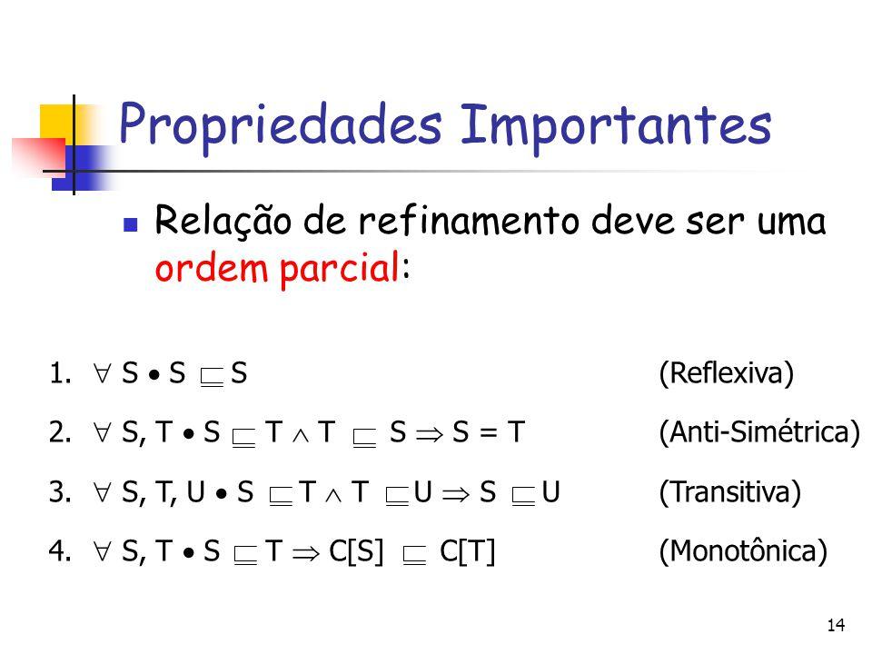 Propriedades Importantes Relação de refinamento deve ser uma ordem parcial: 14 1.  S  S S(Reflexiva) 2.  S, T  S T  T S  S = T(Anti-Simétrica) 3