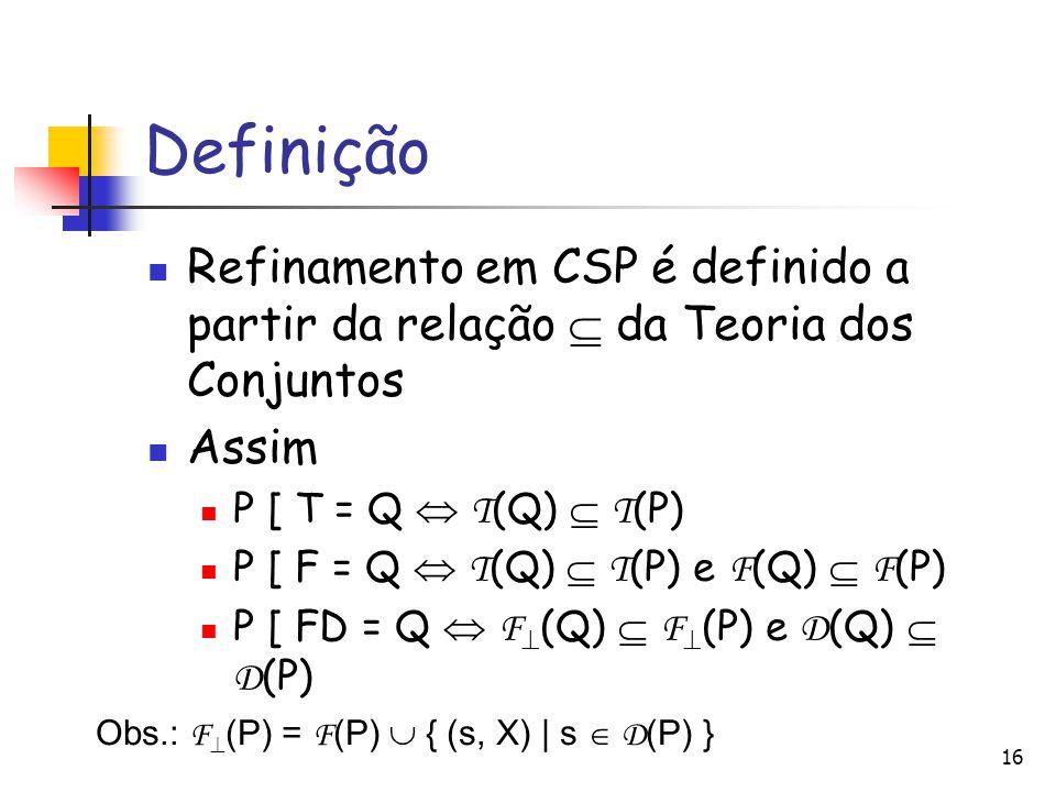 Definição Refinamento em CSP é definido a partir da relação  da Teoria dos Conjuntos Assim P [ T = Q  T (Q)  T (P) P [ F = Q  T (Q)  T (P) e F (Q)  F (P) P [ FD = Q  F  (Q)  F  (P) e D (Q)  D (P) 16 Obs.: F  (P) = F (P)  { (s, X) | s  D (P) }