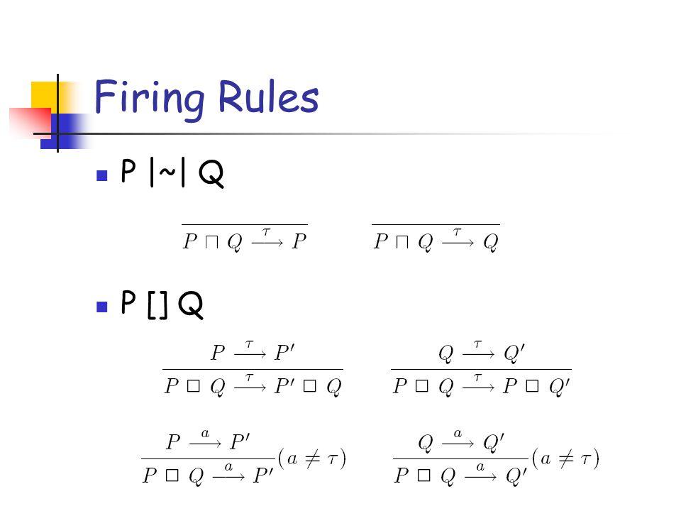 Firing Rules P |~| Q P [] Q