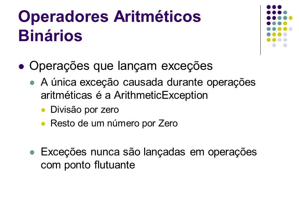 Operadores Aritméticos Binários Operações que lançam exceções A única exceção causada durante operações aritméticas é a ArithmeticException Divisão por zero Resto de um número por Zero Exceções nunca são lançadas em operações com ponto flutuante