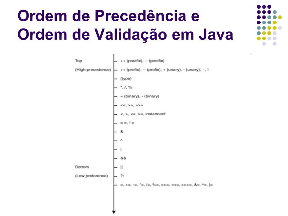 Ordem de Precedência e Ordem de Validação em Java