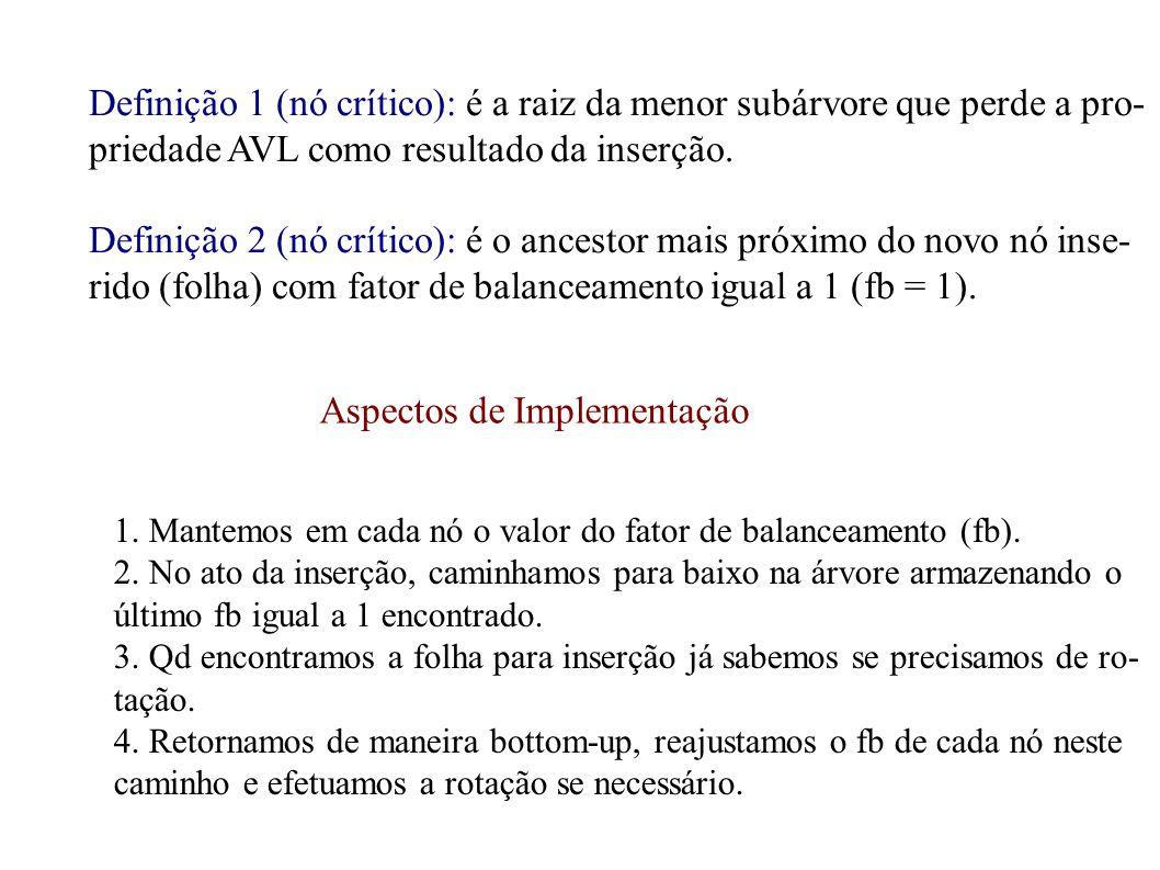 Definição 1 (nó crítico): é a raiz da menor subárvore que perde a pro- priedade AVL como resultado da inserção. Definição 2 (nó crítico): é o ancestor