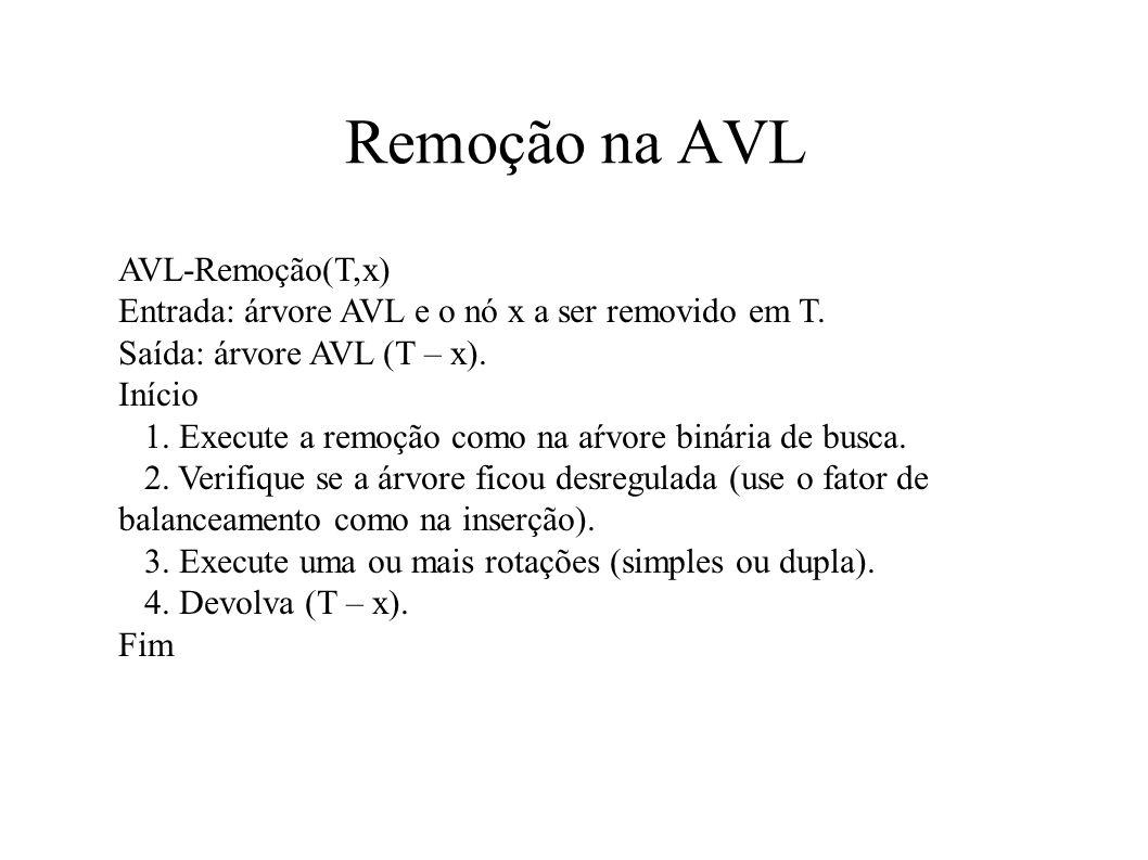 Remoção na AVL AVL-Remoção(T,x) Entrada: árvore AVL e o nó x a ser removido em T. Saída: árvore AVL (T – x). Início 1. Execute a remoção como na aŕvor