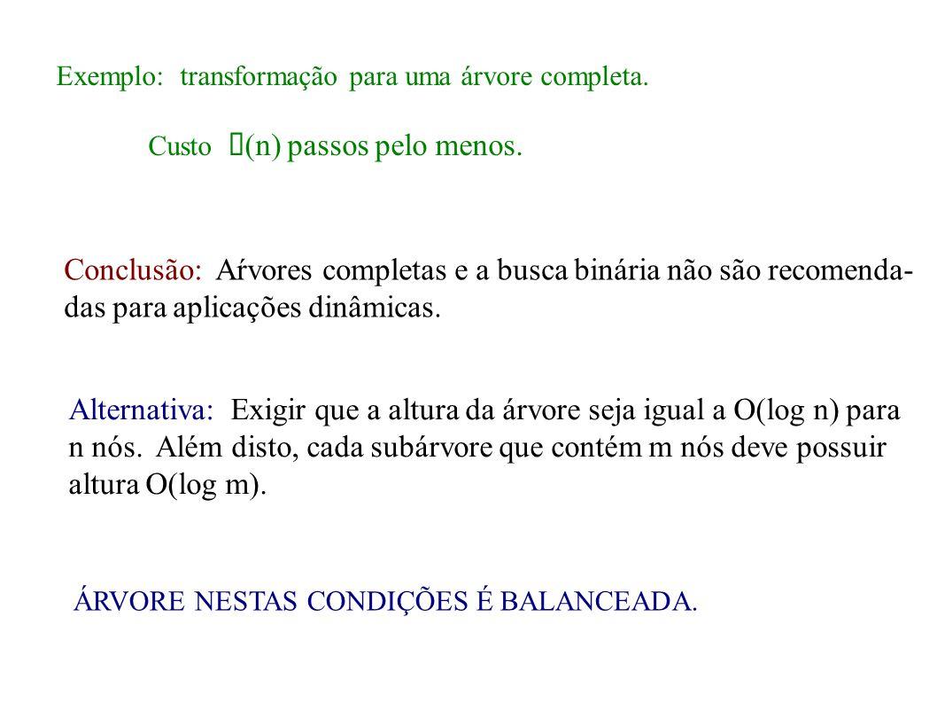 Exemplo: transformação para uma árvore completa. Custo (n) passos pelo menos. Conclusão: Aŕvores completas e a busca binária não são recomenda- das pa