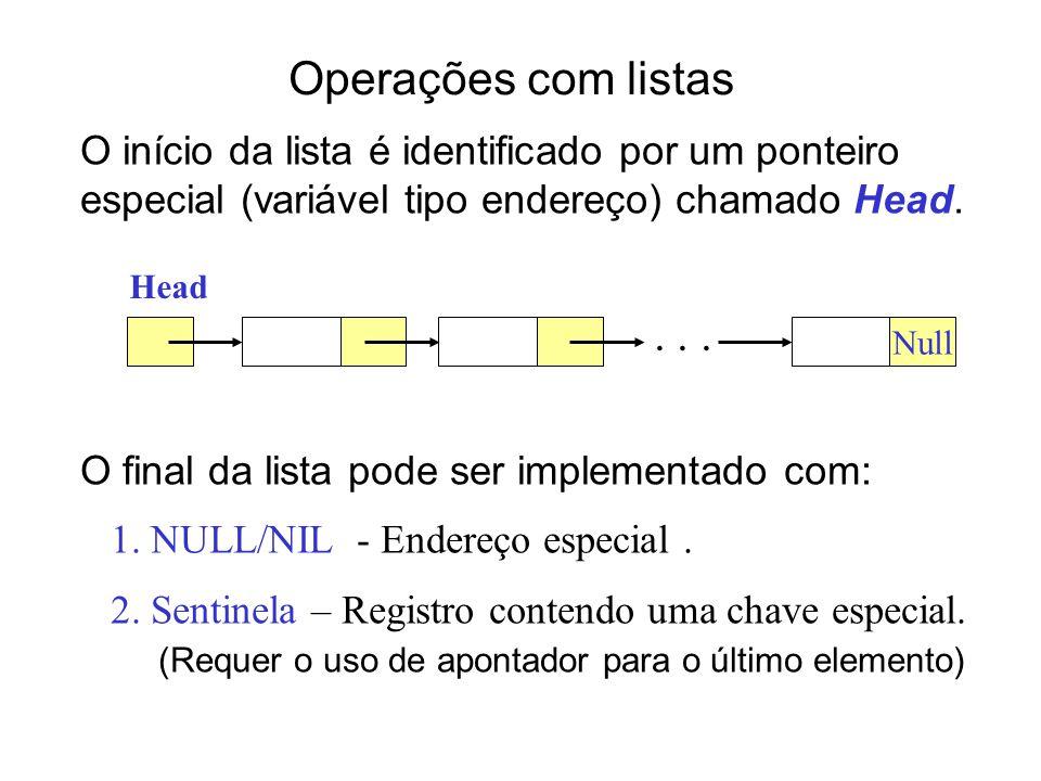 Tipos de Lista 1.Lista duplamente encadeada Cada elemento é um objeto com um campo chave e dois ponteiros: ant e prox.