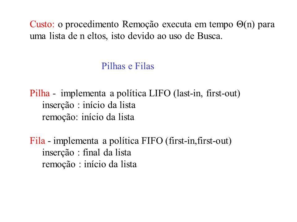 Custo: o procedimento Remoção executa em tempo Θ(n) para uma lista de n eltos, isto devido ao uso de Busca. Pilhas e Filas Pilha - implementa a políti
