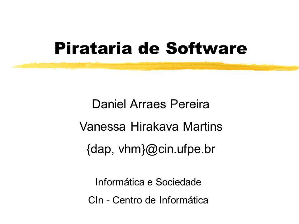 Pirataria de Software Daniel Arraes Pereira Vanessa Hirakava Martins {dap, vhm}@cin.ufpe.br Informática e Sociedade CIn - Centro de Informática
