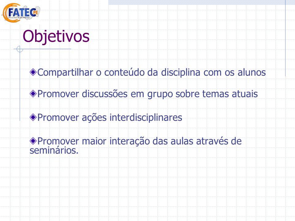 Objetivos Compartilhar o conteúdo da disciplina com os alunos Promover discussões em grupo sobre temas atuais Promover ações interdisciplinares Promov