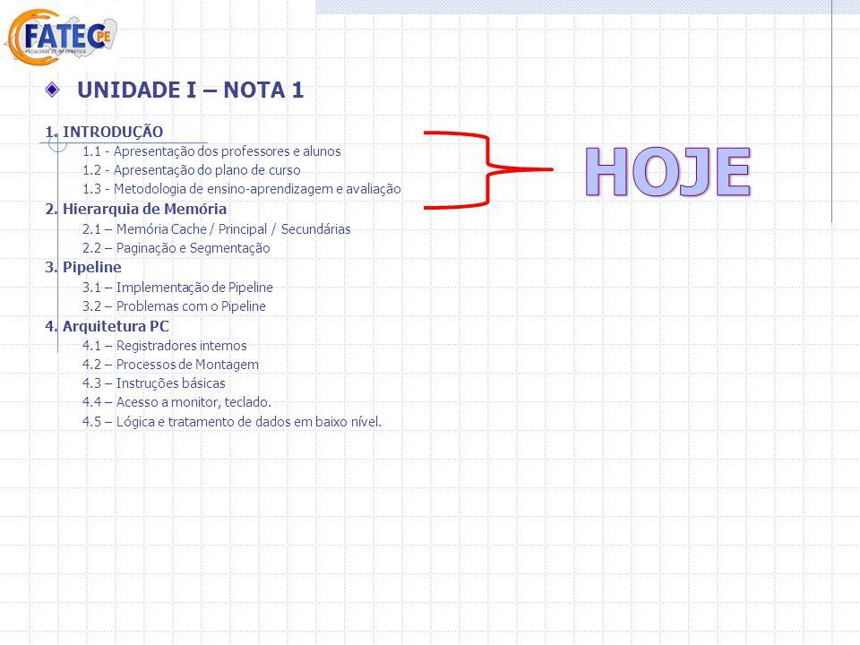 UNIDADE I – NOTA 1 1. INTRODUÇÃO 1.1 - Apresentação dos professores e alunos 1.2 - Apresentação do plano de curso 1.3 - Metodologia de ensino-aprendiz