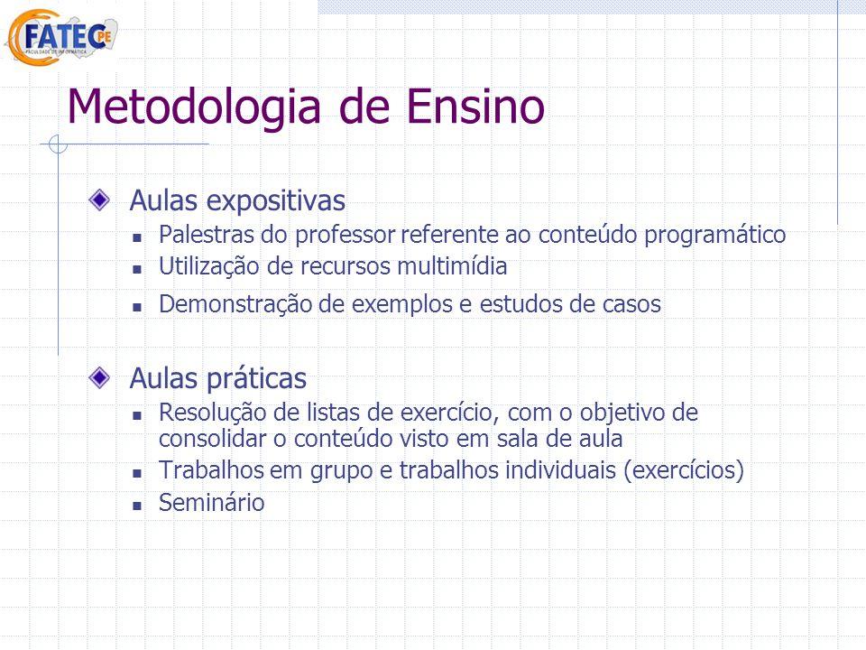 Metodologia de Ensino Aulas expositivas Palestras do professor referente ao conteúdo programático Utilização de recursos multimídia Demonstração de ex
